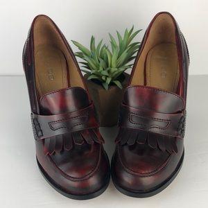 Aldo Burnished Red Moccasin Pumps Heels 8.5